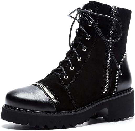 Yanyan Bottines en Cuir pour Femmes Bottines en Cuir Noires Plateforme Chaussures Angleterre Chaussures de vélo Locomotive Martin Bottes Noir