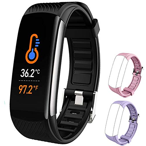 PYBBO Fitness Tracker with Body Temperature Blood Pressure Blood Oxygen Heart Rate Sleep Monitor, IP67 Waterproof Tracker Fit Smart Watch with Step Counter Call Message for Women Men Kids