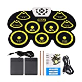 Digital USB Midi Roll-up Electronic Drum Kit Foldable Silicone Roll up Drum Pad Set with Stick and Foot Pedal Portable for Kids and Beginners