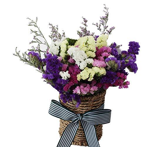 TELLW Flores secas Naturales Ramo Flores con Cesta de Flores decoración del hogar Cristal Hierba Estrellas Paquete gypsophila Flores, Colorido, H:25CM