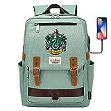 Hogwarts Slytherin College Mochila, Harry Potter Laptop School Bag, con Puerto de Carga USB, Bolso de Mochila de Viaje de Ocio 42 * 30 * 16CM Verde