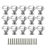 Pomos de Cristal,Tiradores de Cristal 15 piezas 30mm Aleación de Aluminio Diamante Pomos para Alacena Baño Cocina Gabinetes