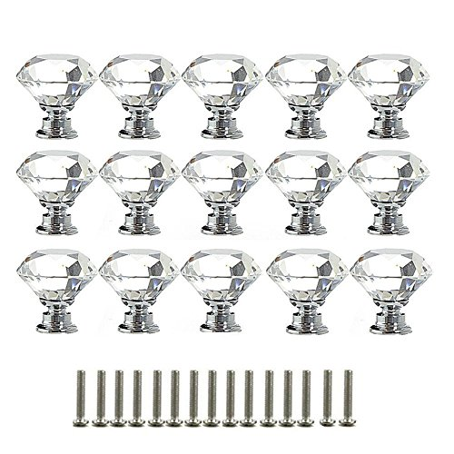Pomelli di Cristallo,Pomelli per Cassetti 15pezzi 30mm Forma di Diamante Lega di alluminio Maniglie Pomelli in Vetro con Vite per Cassetto Porta Credenza Armadio Casa Ufficio Decorazione