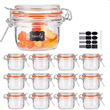 Small Glass Jars With Airtight Lids,Encheng Glass Spice Jars 5 oz,Maosn Jars With Leak Proof Rubber Gasket 150ml,Glass Storage Containers With Hinged Lid,Kitchen Canisters 12 Pack … …