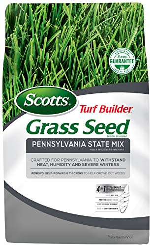Scotts Turf Builder Grass Seed Pennsylvania State Mix - 3 lbs. - Developed Specifically For Pennsylvania Lawns, Grows Quicker, Thicker, Greener Grass, Seeds up to 1,400 sq. ft.