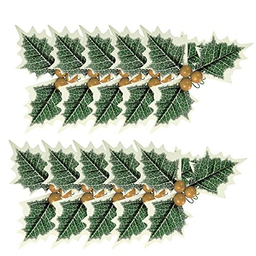 WDING - 10 bacche di agrifoglio artificiali con foglie verdi di agrifoglio e foglie verdi per Natale, matrimoni, feste, decorazioni fai da te
