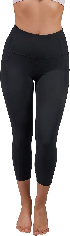 Yogalicious High Waist Squat Proof Yoga Capri Leggings with Side Pockets for Women