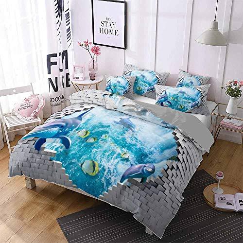 Smile Duvet Bettwäsche, Nette Karikatur-Delphin Kindereinzelbett Extra großes Doppelbett Nein Fade...