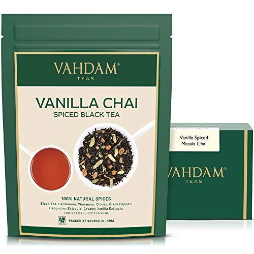 VAHDAM, Masala Chai con sabor a vainilla | 200 gramos (100 tazas) | ALIVIO Y RESTAURACIÓN DE ESTRÉS | Masala Chai Tea | Deliciosa mezcla de té de vainilla | Té de chai con especias hojas sueltas