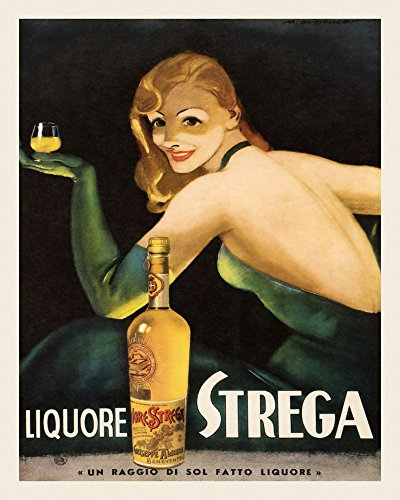 "Fashion Blond Lady Girl Drinking Liquor Liquore Strega Food Italy Italian Drink 16"" X 20"" Image Size SHIPPED ROLLED Vintage Poster Reproduction we have other"