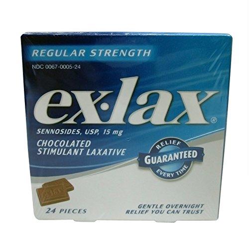 Ex-Lax Choc Rs 24s Size 24ct Ex-Lax Regular Strength Chocolate Stimulant Laxative 24ct