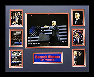 US Art 16x20 Inch Collage of 44th President Barack Obama. Blue & RED MATTED Picture - Framed with 1.5 Inch Black Frame