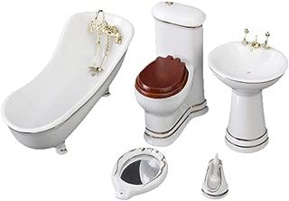 5 PCS White Hamamelidaceae Ceramic Bathroom for Miniature Dollhouse
