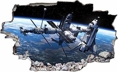 DesFoli Sateliten Weltraum Erde Space Weltall Galaxy Planeten 3D Look Wandtattoo 70 x 115 cm Wand Durchbruch Wandbild Sticker Aufkleber C236