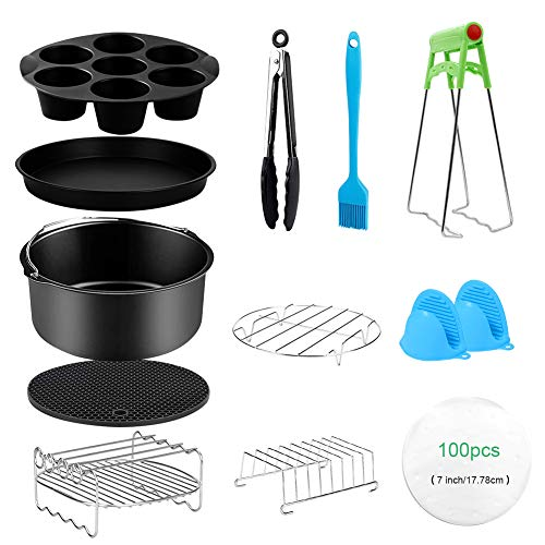 An image of the SumDirect 13 Pcs Air Fryer Accessories Set, 7inch Instant Pots Accessories with Non-Stick Cake Barrel Pizza Pan and Cupcake Pan Fit All 3.5QT~6.8QT Air Fryer