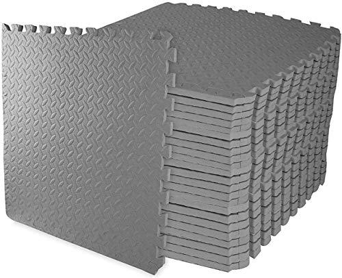 BigButterflyde Bodenschutzmatten,Trainingsmatte aus Eva-Schaum Schutzmatten-Set, Puzzle-Matten,Sport-Matten, 60x60 cm - ineinandergreifendes Design (24Stck Grau)