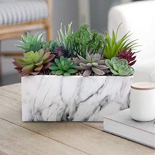 GreenBoxx Ceramic-Marble Artificial Succulent Planter Arrangement Garden 11 Pcs - Faux Potted...