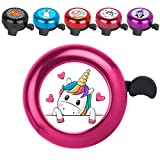 KANGHAR Bike Bell Aluminum Pink Unicorn Love-Hearts Cartoon Animal Design Ring Loud Crisp Clear Sound Cute Funny Bicycle Accessories for Girls Boys Women Men