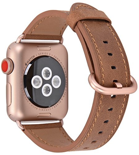 JSGJMY Compatible with Apple Watch Band 38mm 40mm 42mm 44mm Women Men Genuine Leather Replacement Strap for iWatch Series SE 6 5 4 3 2 1 (Camel+Match SE/6/5/4/3 Gold Aluminum, 38mm/40mm S/M)
