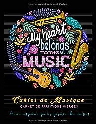 My Heart belongs to the Music - Cahier de musique - Carnet de partitions Vierges - Avec espace pour prise de notes: 9 portées par page avec lignes ... 21,5 x 27,9 cm - 110 pages (French Edition)