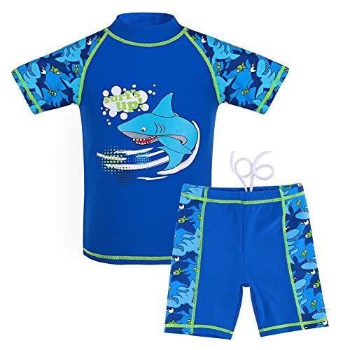 G-Kids Kinder Jungen Badeanzug Bademode Zweiteiliger UPF 50+ UV Schützend Schwimmanzug, Blau, 104/110