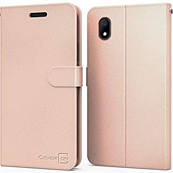 CoverON Wallet Pouch for Alcatel Apprise Case/Glimpse/Volta Phone Case RFID Blocking Flip Folio Stand PU Leather Cover - Rose Gold