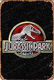Jurassic Park Logo Carteles de chapa vintage Cartel de chapa Retro Letrero de metal Placa Arte Decoración de pared 8 × 12 Pulgadas