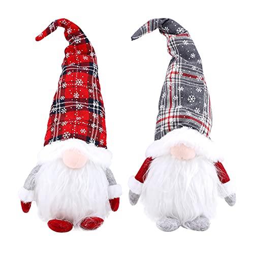 GLAITC Gnomo di Babbo Natale Peluche,2 Pezzi Gnomo di Natale Bambola di Natale Gnomo scandinavo Peluche Ornamenti Natale Fatti Mano Figura Giocattolo per Natale Babbo Natale Decorazioni Feste Bambini