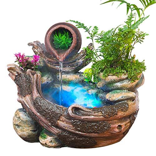 ZPEE Cascada Decorativa Rockery Creativa Agua FUENTAÑA Adornos de Escritorio China Fengshui Adornos de jardín de Aire Interior Humidificador de Aire Decoración de la Oficina Fuente de Interior