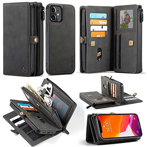 CaseMe Funda para iPhone 12 Mini de Cuero, 2 en 1Flip Folio Zipper Wallet Funda de Piel con Tarjeta Ranuras y Magnético Back Cover para iPhone 12 Mini 5.4'' (Negro)