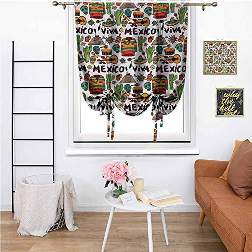 KFUTMD Roman Window Shades Mexican Viva Mexico with Native Elements Poncho Tequila with Salsa and Hot Peppers Image Multicolor Special Roman Shade 31'x64' Inch