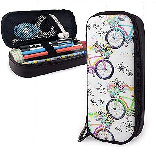KEROTA Astuccio in pelle per bicicletta colorata di grande capacità, portamatite portatile e resistente, con cerniera, astuccio per matite per ragazzi, ragazze, studenti scolastici