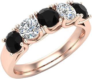 Diamond Band 14K Gold Five Stone Wedding Ring Traliccio impostazione 1,10 ctw