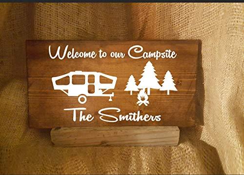 King34Webb Popup Kampeercamping Welkom bij onze camping Camping Decor Camper Decor Gepersonaliseerde Gift Wood Teken Bruiloft Gift W154