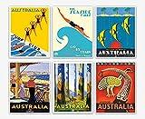 Set von Reise-Postern, 6 australische Vintage-Poster,