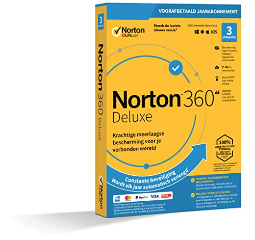 Norton 360 Deluxe 2020 | 3 Apparaten | 1 Jaar abonnement met automatische verlenging | Secure VPN en Password Manager | PCs, Macs, tablets en smartphones