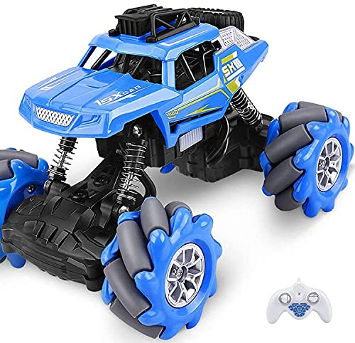 Outerman 4WD Remote Control Car, 1:20 Scale RC Crawler Dancing Car, 360° Lateral Drift Stunt Truck with One-button Free Programming, Built-in Lithium Rechargeable battery for Adults & Kids Blue