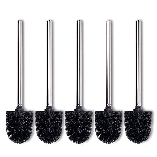 Schramm® 5-pack toiletborstelvervangingsborstels zwarte borstelkop rvs handgreep gepolijste toiletborstels toiletborstels