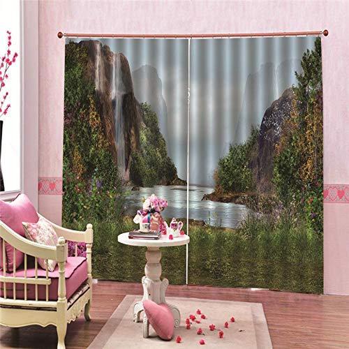 Verduisteringsgordijnen, warmte-isolerend, bergen aan zee, polyester, wasbaar, voor slaapkamer en woonkamer, slaapkamer, decoratie thuis (140x250cm x 2 pcs)