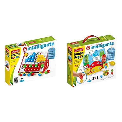 Quercetti - 4195 Fantacolor Junior Basic Giocattolo Per Bambini 2+ & - 2270 Jumbo Peggy - 20 Pz , Chiodini Per Bambini Prima Infanzia