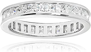 Sterling Silver Cubic Zirconia Princess-Cut 2mm Channel Set Polished Eternity Band Ring