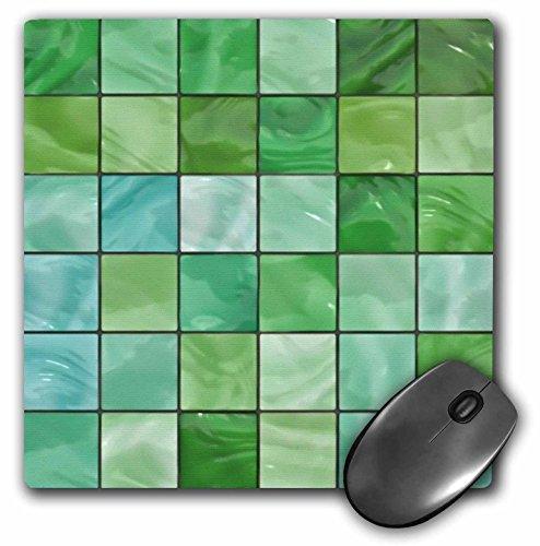 Lee Hiller Ontwerpen Tegel Prints - Lente Groen Aqua Glas Tegels Print - MousePad (mp_32476_1)