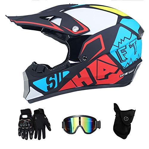 LTongx Motorrad Motocross Helme & Handschuhe & Goggles D.O.T Standard Kinder Quad Bike ATV Go Kart Helm,S(52~53cm)