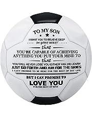 Voetbal gegraveerd met woorden om aan mijn zoon te geven, kinderen aanmoedigen en kinderen inspireren om te groeien, een zeer herdenkingsgift voetbal