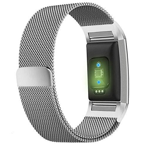 Vervangende Band Compatibel voor Fitbit Charge 2, RVS Metaal Verstelbare Accessoire Armband Band met Sterke Magneet Lock Polsbanden voor Lading 2 Zilver Rose Goud Roze