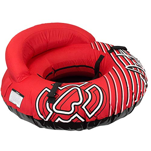"""Winterial Inflatable Snow Sled Tube - Deluxe 50"""" Inflatable Snow Sled for Kids and Adults with Shoulder Strap and Padded Handles/Big Snow Tube Toys for Kids (Red)"""