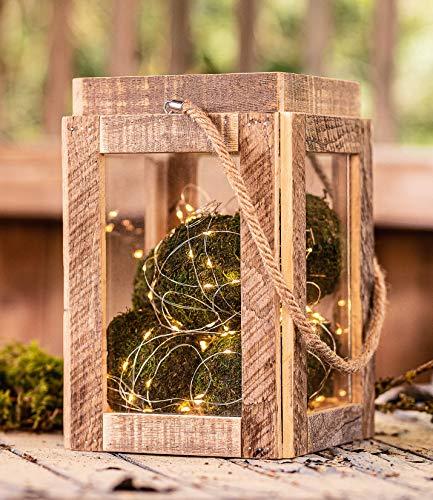 Upcycling Windlicht, Laterne aus Holz mit Glas, 30 cm hoch, Deko Glaswindlicht Teelicht Säule mit Stabiler Hanfkordel