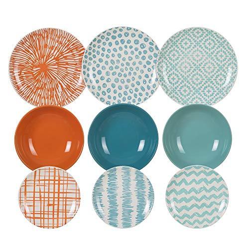 Vajilla trazos en 3 colores de porcelana stoneware de 18 piezas - LOLAhome