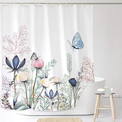 Yookeb Butterfly Flower Floral Bathroom Shower Curtain Blossom Spring Shabby Chic Colorful Botanical Plant Vintage Country 60W by 71H Inch Polyester Fabric 12 Plastic Hooks Waterproof Decor