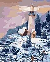 数字で描く子供たち冬の白い灯台40X50Cmフレームなしのキャンバスペイント3つのブラシで忍耐力を高める